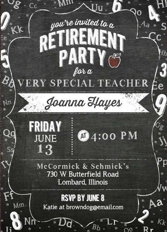Einladung zur Pensionierung Lehrer & Chalkboard Theme