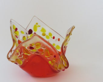 Handmade Orange with Red, Yellow and Orange Edge Fused Glass Votive Candle Holder or Dish