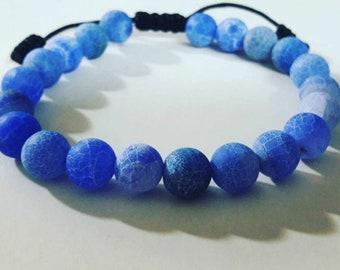 Matte Blue Fire Agate Bracelet