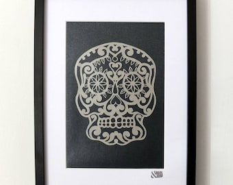 Sparkly, glittery Sugar Skull design 1, framed paper cut. Wide variety of colours available. 100% Hand cut.