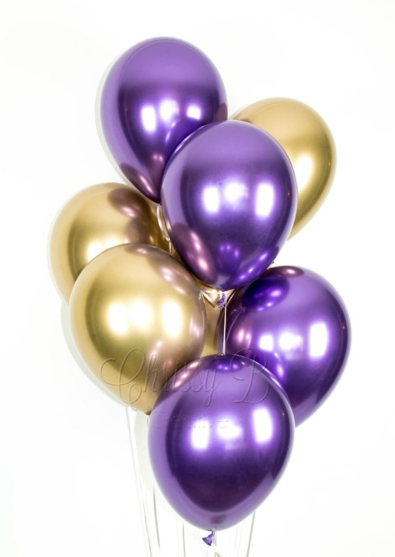 PURPLE and GOLD Balloons Purple and Gold Chrome Balloon