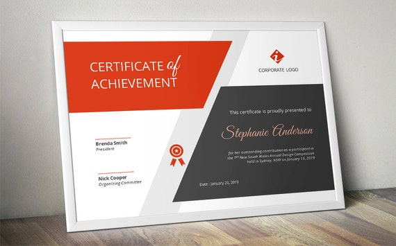 Big bar corporate business certificate template for MS Word