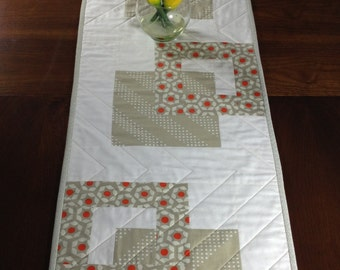 Modern Quilted Table Runner, Taupe Orange and Cream Wallhanging, Modern Table Decor, Quiltsy Handmade Tablerunner, Bed Runner