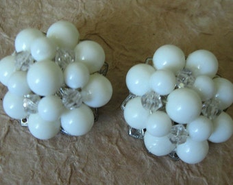 Vintage 1950s-60s White and Crystal Bead Clip on Earrings