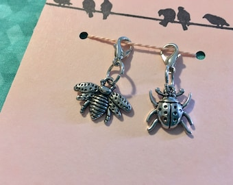 Knitting Progress Keepers - set of 2 Bee and Ladybug, crochet progress keeper, crochet stitch marker, spring, summer, insects, silver