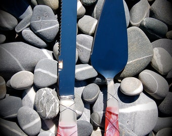 """Sea Glass Wedding Cake Knife & Server made with Recycled Bottle """"Tumbled Island Glass""""  in Garnet Red. Dishwasher Safe Stainless"""