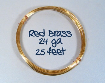 24ga 25ft DS Red Brass Wire