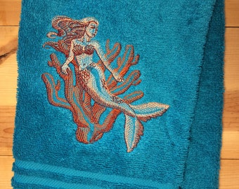 Mermaid And Coral Towel~ Embroidered Nautical Hand Towels~ Ocean Bathroom  Decor ~ Embroidered Mermaid