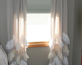 100%  linen   ruffled curtains panel,Shabby chic window treatments
