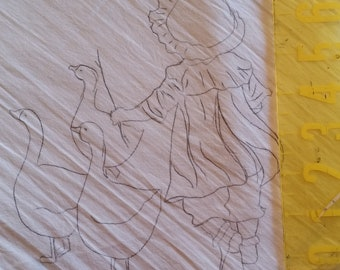 goose herder dish towel to embroidery