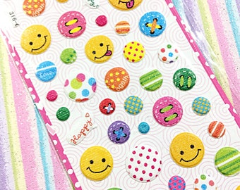 Kawaii glitter sticker sheet - kawaii emoji puffy sticker sheet