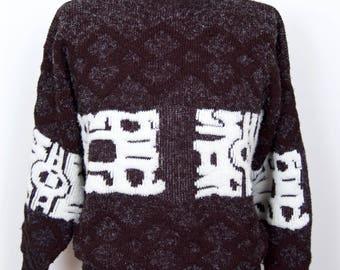 Ultimate 1980s Pattern Sweater / Jondel vintage eighties asian goth punk gray, black & white crew neck / men's medium