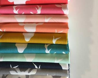 Buck Forest Fabric, Nursery Fabric, Deer Fabric, Hello Bear fabric bundle by Bonnie Christine, Bundle of 12- You Choose the Cut