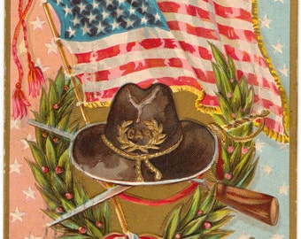 Vintage Postcard, Grand Army of the Republic, Sword, Eagle, Flag, 1909