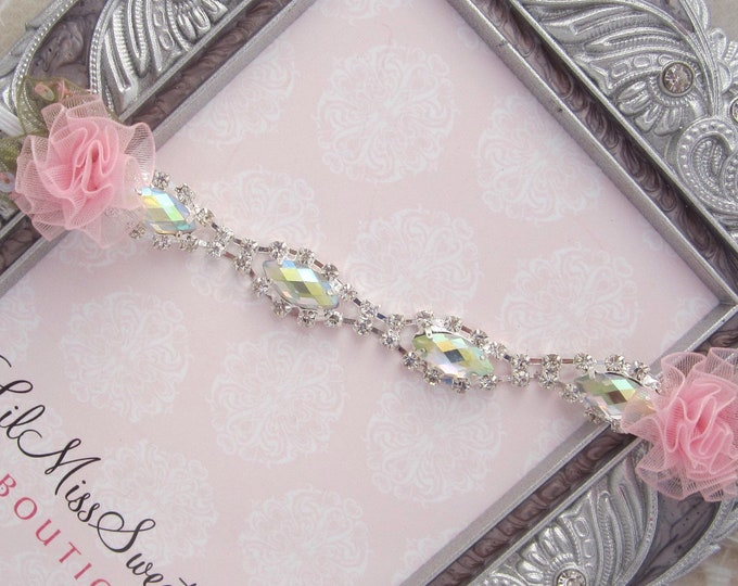 Rhinestones & Choice of Flower Color Headband for newborn photos, photographer, baby girls, foto bebe, Lil Miss Sweet Pea Boutique
