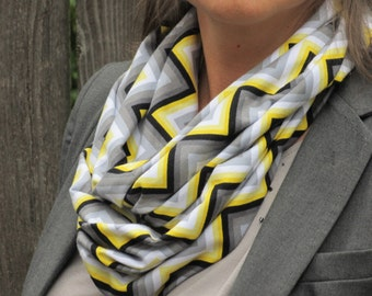 Grey Yellow Mustard Scarf Autumn colors scarf gray yellow Chevron infinity scarf grey yellow white zigzag jersey knit loop scarf for women