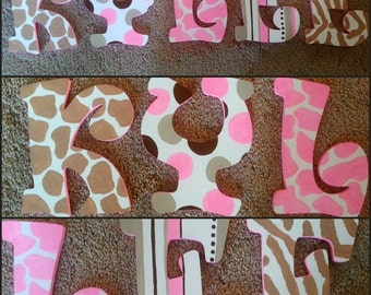 Animal Print  Letters - Hand Painted Letters - Wood Letters - Name Letters - Wall Letters - Girls Bedroom Decor - Giraffe Letters - Giraffe