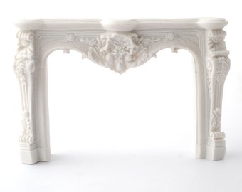 Dollhouse Miniature Large Ornate Fireplace Antique White Resin 1:12 Scale