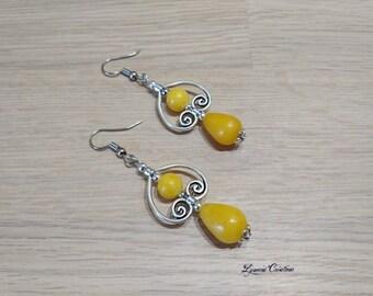 Earrings drops and jade beads, earrings, woman, ear cuff jewelry, woman