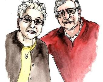 Custom Illustrated Watercolor People Portrait