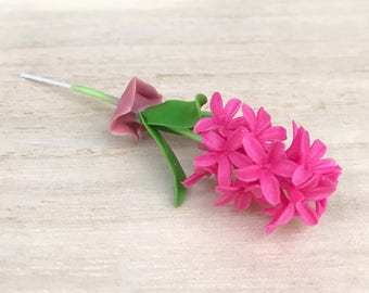 Miniature Flower,Miniature Flower Pot,Miniature Vase,Dollhouse Flower,Miniature Garden,Dollhouse Flower Pot,Dollhouse,Clay Flower