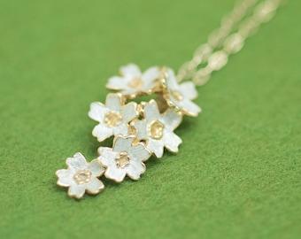 Sakura pendant and chain - Six flowers - Cherry blossom - Japanese blossom - free shipping