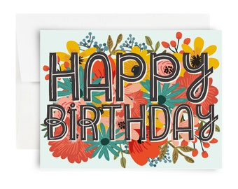Happy Birthday Card : Red, Blue, Pink, Yellow, Floral Birthday Card, Greeting Card, Bearly Southern, Flowers, Congrats, Happy Day