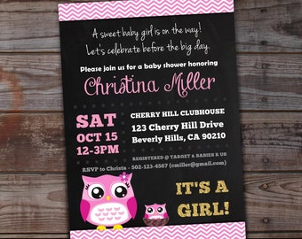 Pink Owl Baby Shower Invitations | Owl Baby Shower | Mommy and Baby Owl Baby Shower Invites | Pink and Gold Baby Shower Invitations | Girl