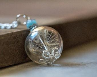 Vintage Necklace, dandelion, terrarium necklace Glass Globe, botanical necklace, nature jewelry, set jewelry, blue bead, real dandelion
