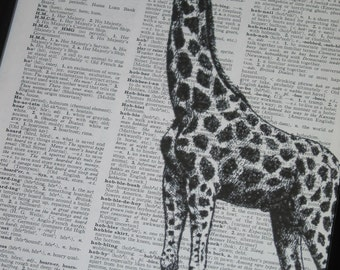 Sale Dictionary Art Print Giraffe Art Print BookPrint  Dictionary Art Dictionary Print The Giraffe