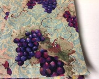 Cloth Dinner Napkins, Set of 4 Napkins, Dinner Napkins, Handmade Cotton Cloth Dinner Napkins, Grape Design, Wine Design Napkins