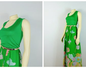 Vintage Dress 60s Miss Elliette Floral Dress & Jacket Green Pink Blue Yellow Floral Maxi Dress Size Medium to Large