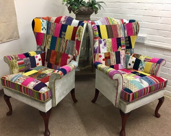 2 Newly upholstered  Parker Knoll wing back chairs in luxury velvet patchwork design