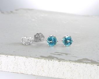 Silver Blue Topaz Stud Earrings Genuine Paraiba Blue Topaz Earrings Blue Topaz Gemstone Stud Earring Genuine Blue Topaz Holiday Gift For Her