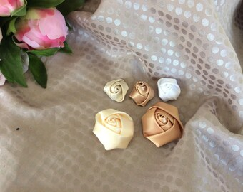 Set of five satin rose buds