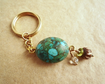Colorful turquoise magnesite key chain, Solid brass key ring, Beaded brass keychain