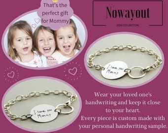 Gift for Mommy, your Child's personal HANDWRITING handmade custom engraved sterling silver bracelet, love note in silver, Gift for Her,