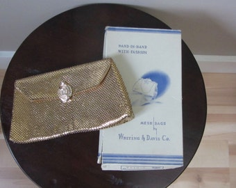 1950s Whiting & Davis gold mesh clutch | 40's 50's old hollywood glamour