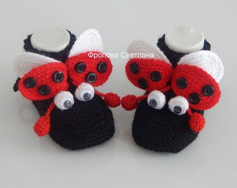 Baby booties , Baby , Baby girl, Knitted baby booties.Hand-knitted Ladybug Baby Socks Booties