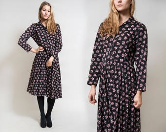 Black Floral Long Sleeve Midi Dress/ Pleated Skirt Dress/ Pink Cotton Flowers/ Every Day Dress • Size Medium to Large •