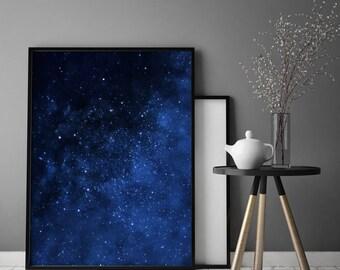 Abstract Blue Art Digital Art Contemporary Art Large Printable Art Stars Art Loft Poster Universe Art Night Sky Print Space Art Universe Art