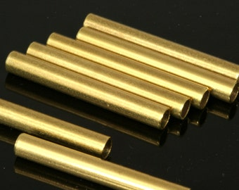 10 pcs  raw brass tube 38 x 5 mm (hole 3,7 mm) industrial brass charms,pendant,findings spacer bead