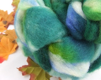 SPRING MIST 2 oz Hand-Painted Merino and Mohair Roving