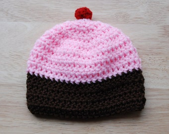 Baby Girl Pink and Brown Cupcake Hat with Cherry