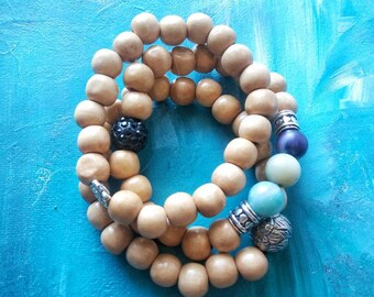Three wood bracelet, chunky layer, gypsy, Boho style, gemstone set, natural wood and stone