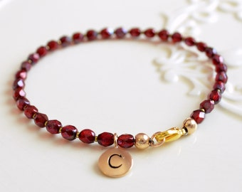 Dark Red Bracelet, Beaded, Simple Gold, Bronze Initial Charm, Personalized, Bridesmaid Jewelry, Wedding