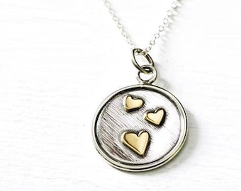 Triple Love Heart Pendant Handmade in Sterling Silver and Brass. Romantic Mixed Metal Necklace