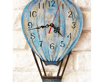 Blue Balloon, Modern wall clock with numbers, White wall clock, wood clock, kids gift, wedding gift, for Office, Industrial style.
