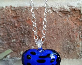 1519..Lamp Glass Heart Pendant.  A Snow Quartz & Quartz Crystal Accented Necklace. Unique/OOAK! Beautiful Flow to The Necklace. Good Energy.