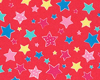 Flower Sugar Holiday Stars Red multi fabric for Lecien LEC31330-30